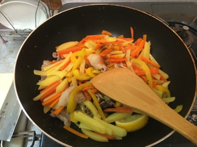 Cooked vege in the pan