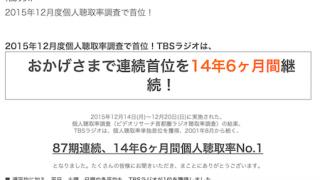 2015年12月度首都圏ラジオ聴取率調査結果発表!  TOKYO FMが遂に単独2位を獲得 TBSラジオは14年6ヶ月連続首位を維持しました